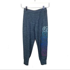 Adidas Gray Joggers Spell Out Rainbow Sparkle